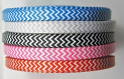 "BB Ribbon CHEVRON BASIC 2m grosgrain thin 3/8"" hair bows CHOICE OF COLOURS"