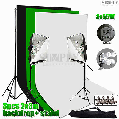 Photography Studio Softbox Lighting Light Stand Backdrop Background Support Kit
