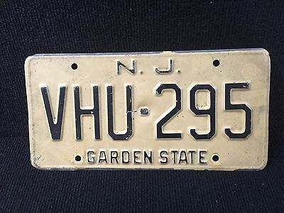 Vintage New Jersey Garden State License Plate Metal Yellow and Black.