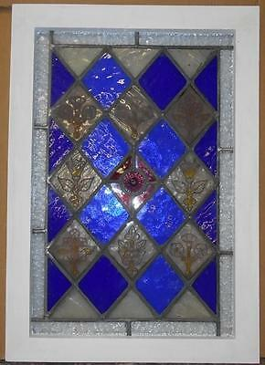 "Edwardian Handpainted English Leaded Stained Glass Window 19.75"" X 28.25"""