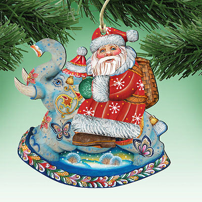 G Debrekht Deco Santa on Elephant Ornament