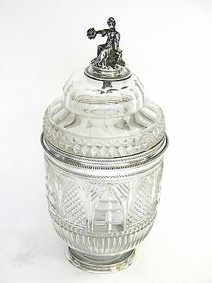 ANTIQUE VICTORIAN SOLID SILVER & CUT GLASS PRESERVE JAR / BOX c. 1850