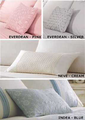 Embroidered Or Laced Cushions Oblong Filled Scatter Modern Polycotton Cream Pink