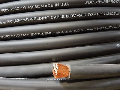 2/0 EXCELENE WELDING BATTERY CABLE BLACK 600V USA 105c EPDM JACKET 30' ft
