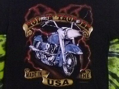 ROLLIN' THUNDER Made In The USA Vintage Motorcycle T-Shirt L