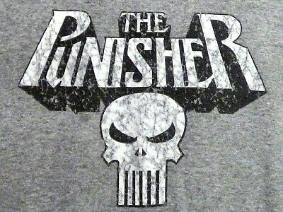 THE PUNISHER Gray Ringer Distressd Design T-Shirt L