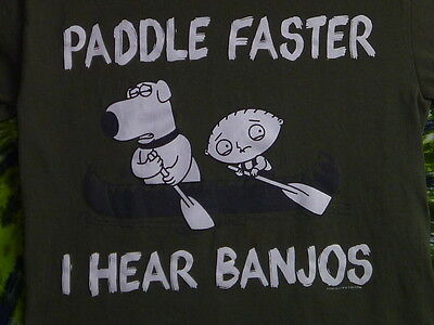 FAMILY GUY Paddle Faster I Hear Banjos STEWIE & BRIAN Deliverance parody T-Shirt