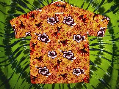 BIRD OF PARADISE AND HIBISCUS ON ORANGE Hotsand Hawaiian Shirt S L