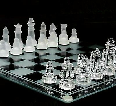 Glass Chess Set Classic Vintage Draughts Pieces Tournament Board Game Table Gift