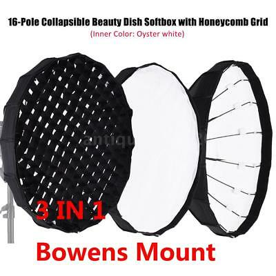 60CM Collapsible Beauty Dish Softbox Diffuser Honeycomb Grid Bowens Mount O8Y8