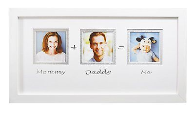 7x14-inch Mommy Daddy Me White Frame with White/Silver Double Mat