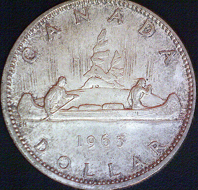 1965 Canadian Voyageur Silver Dollar $1.00 Coin