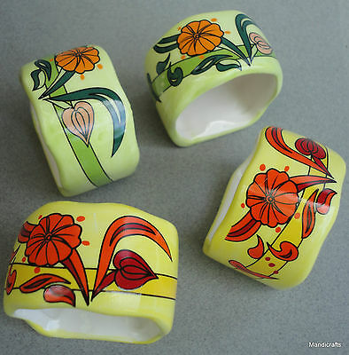 Napkin Ring Set 24 Pottery Floral Red Yellow Green Boxed Unused Summer Party