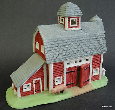 PartyLite Barn Meadow Brook Farm Country Village Tealite Candle Holder Porcelain
