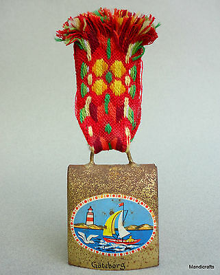 Cowbell 2.5in Souvenir Goteborg Gothenburg Sweden Nautical Sailboats Woven Strap