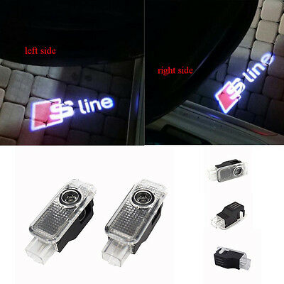 2x LED Projector Logo Light Laser Door Lamp For AUDI A4 A5 A6 A7 A8 A3 RS Sline
