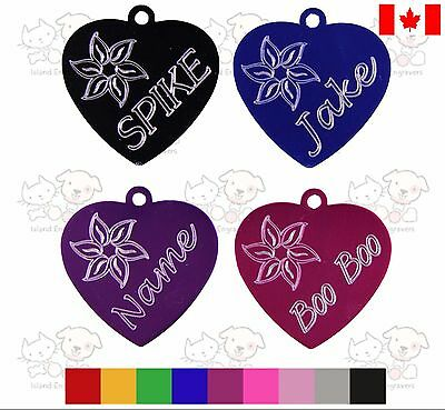 Pet Tag Dog Heart Custom Engraved Flower Name On Front Details On Back With Ring