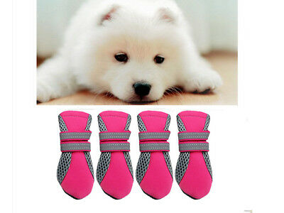 Pet Dog Puppy Boots Water Repellent Anti-Slip Protective Shoes Pink XL