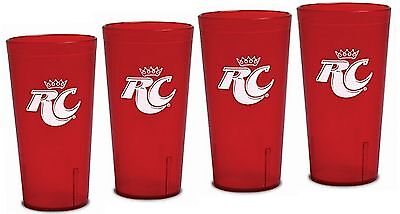 Royal Crown Cola RC Logo Red Plastic Tumblers Set of 4 - 16oz