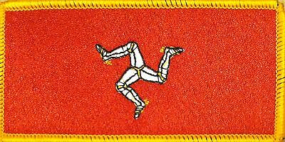 ISLE OF MAN FLAG Embroidered Iron-On PATCH MANN EMBLEM GOLD BORDER #01