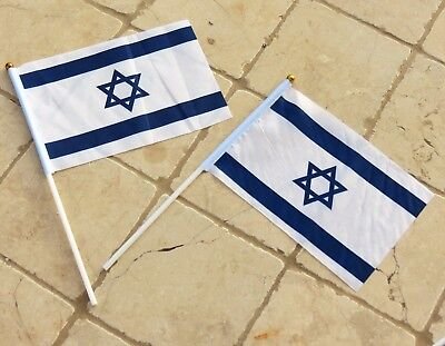 Small Israel Hand Waving National Flag 14*21cm Lot Of 2 Polyester Flags