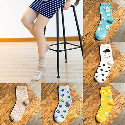 1 Pair Cartoon Egg Ripple Clouds Patterns Casual Cotton Women Socks