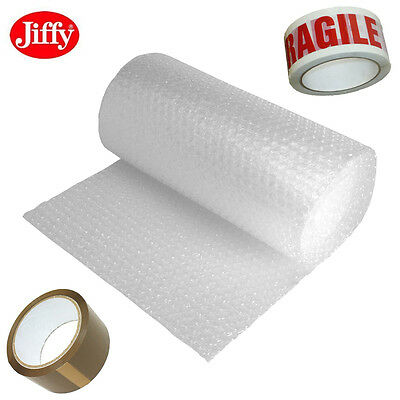 JIFFY BUBBLE WRAP SMALL 100 or LARGE 50 METRES BUBBLES X 300 500 750MM TAPE