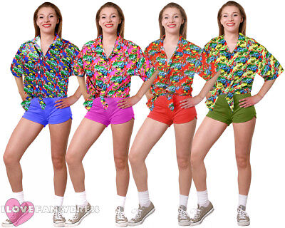 Ladies Hawaiian Shirt Beach Party Fancy Dress Luau Loud Holiday Top Hen Party