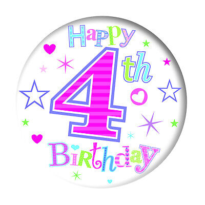 "4Th Age 4 Girls Jumbo Giant 6"" Happy Birthday Party Badge - Pink Hearts & Stars"