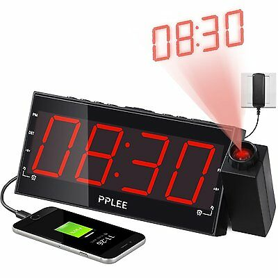 PPLEE 1.8 Inch LED Dimmable Projection Dual Alarm Clock FM Radio CR-01 CXX