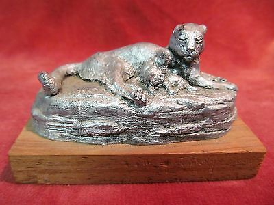 Deaton Museum Pewter Mountain Lion & Baby Cubs Figurine On Wood Block