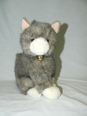 "VTG A&A 10"" Plush Grey & White sitting Grey & White Cat Kitten w Bell stuffed"