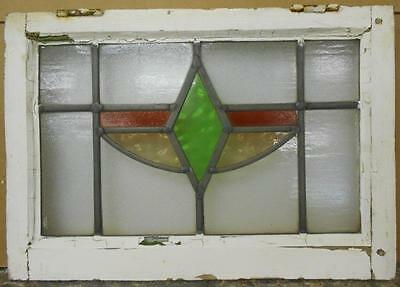 "OLD ENGLISH LEADED STAINED GLASS WINDOW Pretty Geometric 21.25"" x 14.75"""