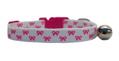 White & pretty pink bows  safety kitten cat collar 3 sizes