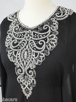 Black and Silver with Crystal Style Farasha Jalebia kaftan abaya Maxi Dress Gown