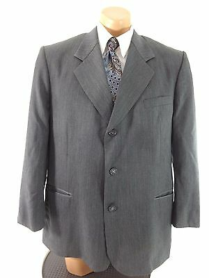 Bendetti Mens Gray 3 Button Virgin Wool Suit Jacket Size 46R