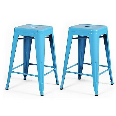 Adeco 24-inch Light Blue Glossy Metal Tolix Style Chair Counter Stool, Set of 2