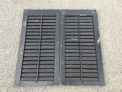 Vtg Pair Antique Black Chippy Paint Architectural House Louver Window Shutter