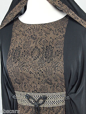 New DUBAI Black Bronze Elegant Abaya Jilbab Kaftan Islamic Clothing Maxi Dress