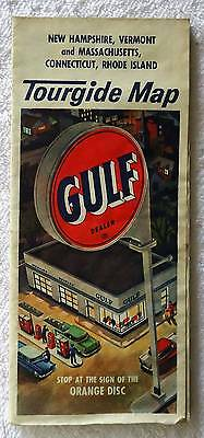 1950's GULF OIL TOURGIDE TRAVEL ROAD MAP NEW ENGLAND STATES #21