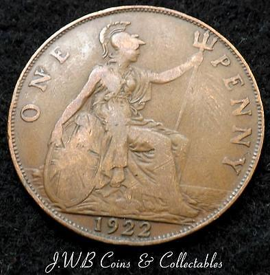 1922 George V 1d One Penny Coin - Great Britain..