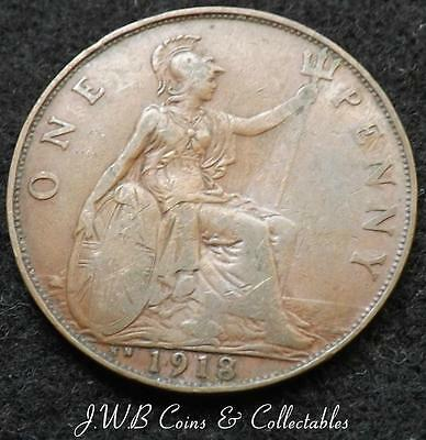 1918-KN George V 1d One Penny Coin - Kings Norton Mint - Great Britain.