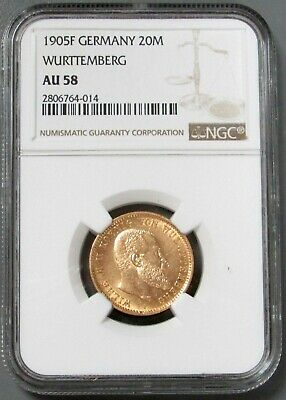 1905 F Gold German State Wurttemberg Wilhelm Ii 20 Mark Coin Ngc About 58