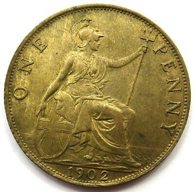 1902 Edward VII 1d One Penny Coin - EF - Great Britain