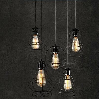 Edison Vintage Metal Cage Wire Ceiling Pendant Lights Lamp Shade Fixture Fitting