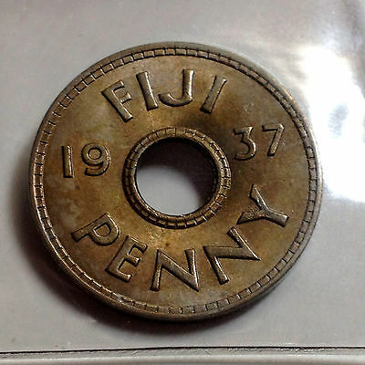 1937 Fiji One Penny Uncirculated Low Mintage  Coin