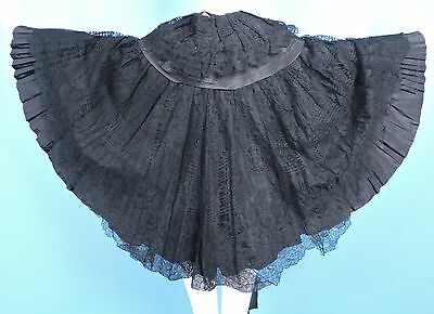 Victorian 19Th C Black Chantilly Lace Cape W Silk Lining For Dress