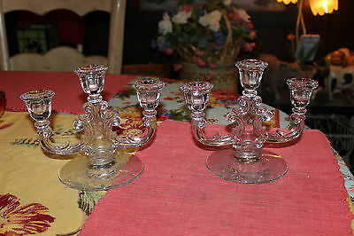 Antique Victorian Glass Candlestick Holders-Candelabra Pair-Floral Inlay-Curves