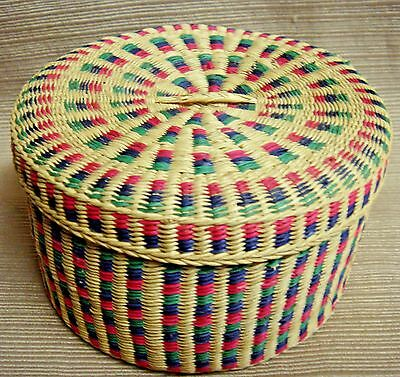 Beautiful & Intricate Small Round Lidded Basket - Multi-Color