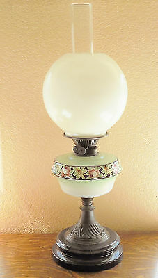 mantle banquet oil lamp clay base 1800s hand painted green glass & white globe